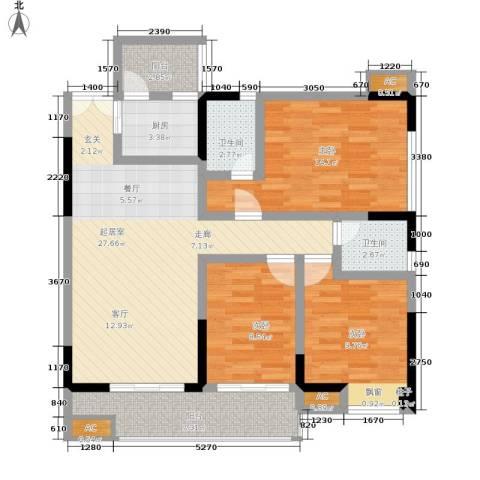 梁平戴斯国际酒店社区(B区)3室0厅2卫1厨96.00㎡户型图
