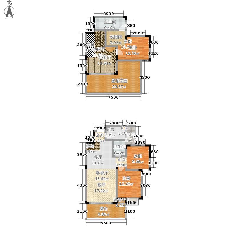 芙蓉山水浣溪134.89㎡1期5、7栋标准层B4`户型