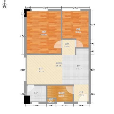 外国2室0厅1卫1厨60.77㎡户型图