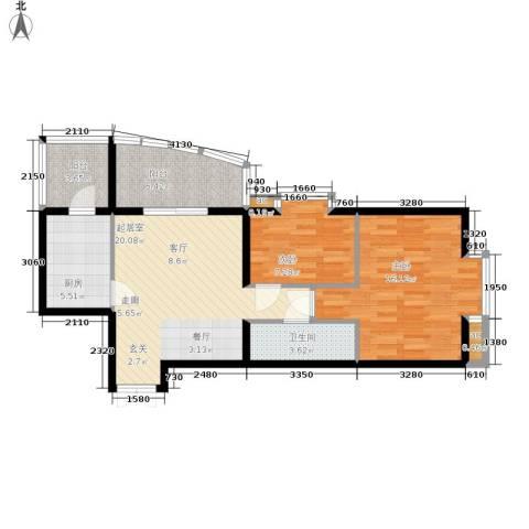 西豪逸景2室0厅1卫1厨91.00㎡户型图