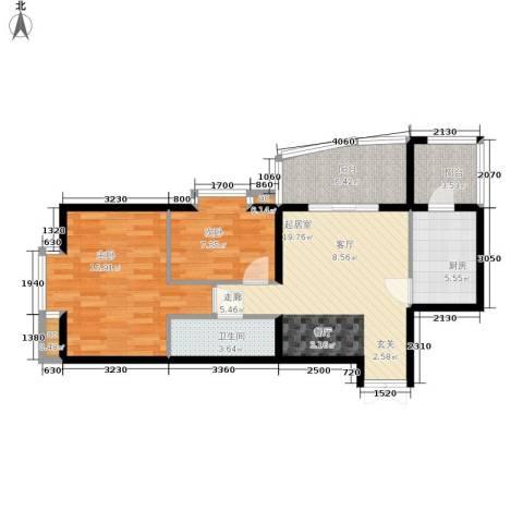 西豪逸景2室0厅1卫1厨90.00㎡户型图