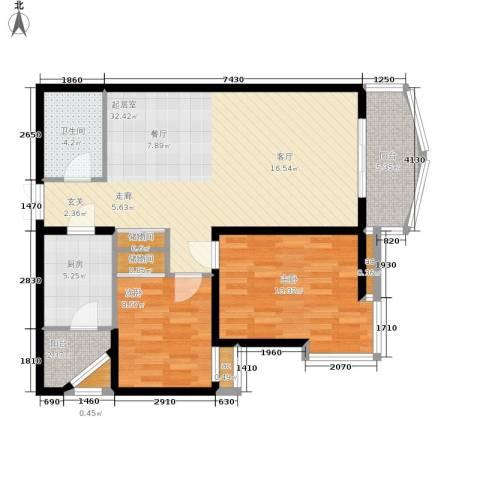 西豪逸景2室0厅1卫1厨106.00㎡户型图