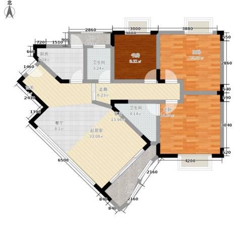 巴蜀怡苑3室0厅2卫1厨101.00㎡户型图