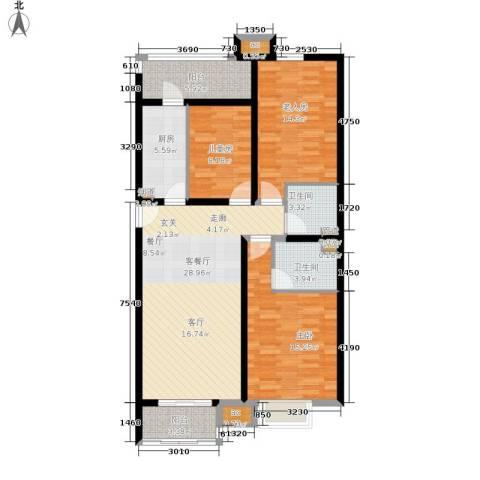 龙熙半岛3室1厅2卫1厨131.00㎡户型图