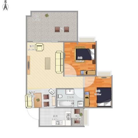 英郦庄园・曼城2室1厅1卫1厨97.00㎡户型图