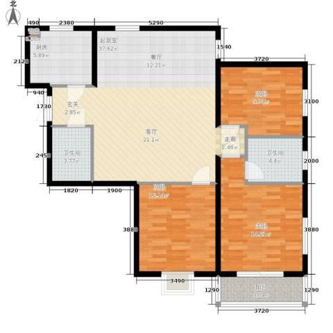 鸿盛凯旋门3室0厅2卫1厨104.00㎡户型图