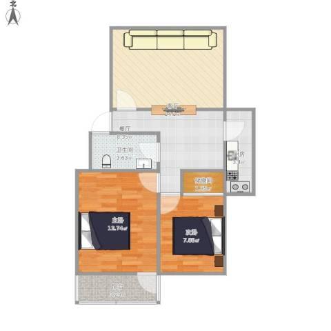 阳光小区2室2厅1卫1厨75.00㎡户型图