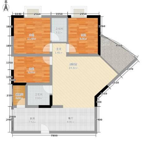 巴蜀怡苑3室0厅2卫0厨90.00㎡户型图