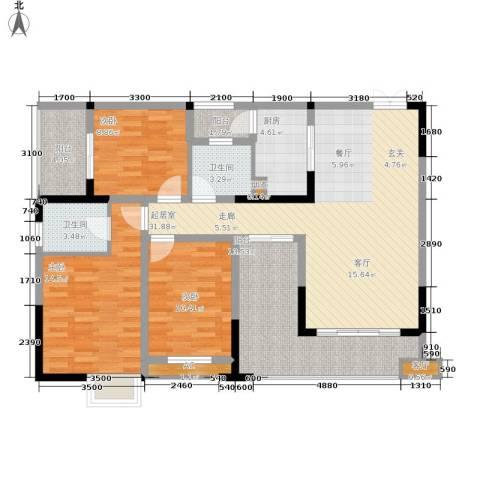 顺祥壹街区3室1厅2卫1厨100.00㎡户型图