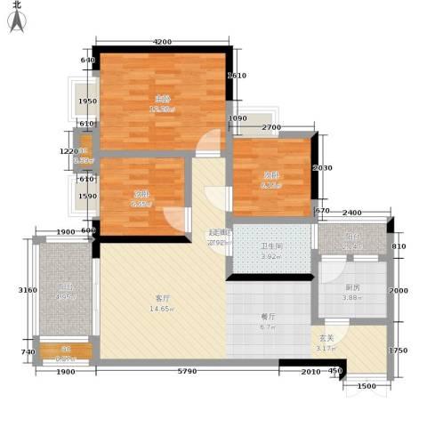 帝豪巴南印象3室0厅1卫1厨80.66㎡户型图