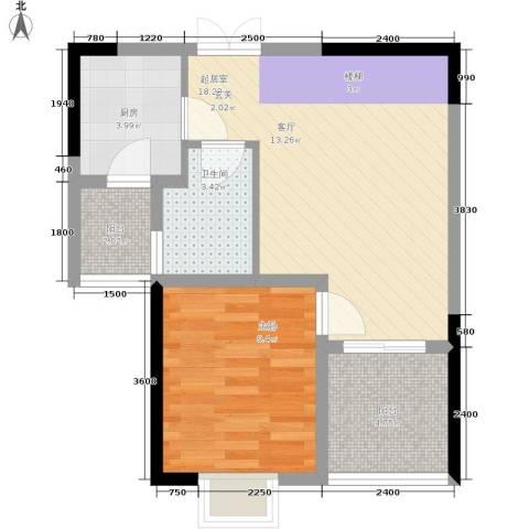 帝豪巴南印象1室0厅1卫1厨48.42㎡户型图
