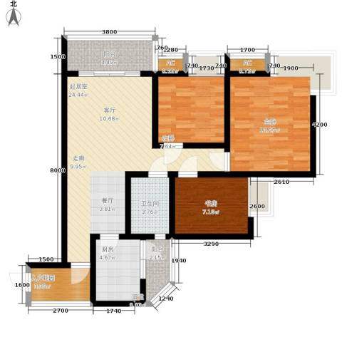 浩立半岛康城3室0厅1卫1厨96.00㎡户型图