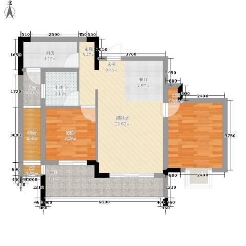 中国铁建中铁5号2室0厅1卫1厨64.00㎡户型图