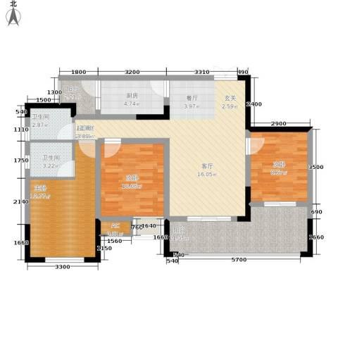 中国铁建中铁5号3室0厅2卫1厨88.00㎡户型图