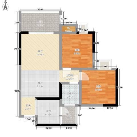 帝豪巴南印象2室0厅1卫1厨67.24㎡户型图