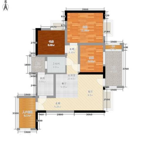 帝豪巴南印象3室0厅1卫1厨80.79㎡户型图