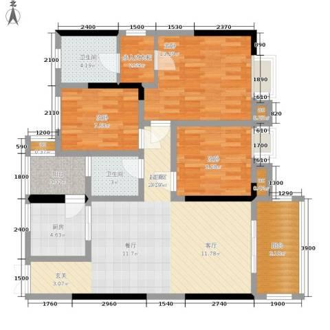 帝豪巴南印象3室0厅2卫1厨98.16㎡户型图