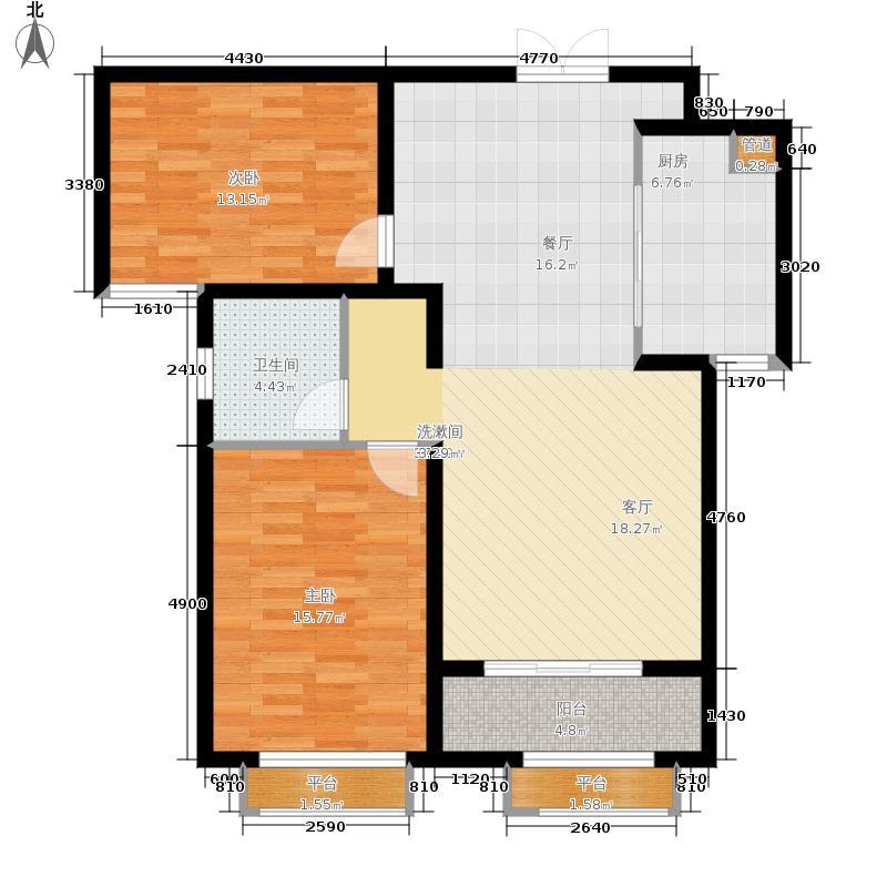 英伦湾92.90㎡2号楼B户型2室2厅