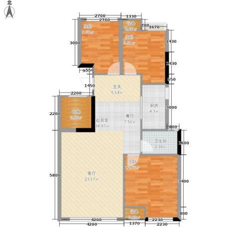 西铁领寓3室0厅1卫1厨97.00㎡户型图