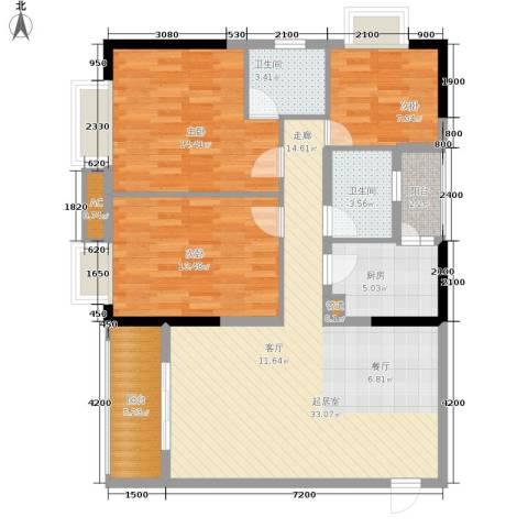 一城龙洲3室0厅2卫1厨94.00㎡户型图