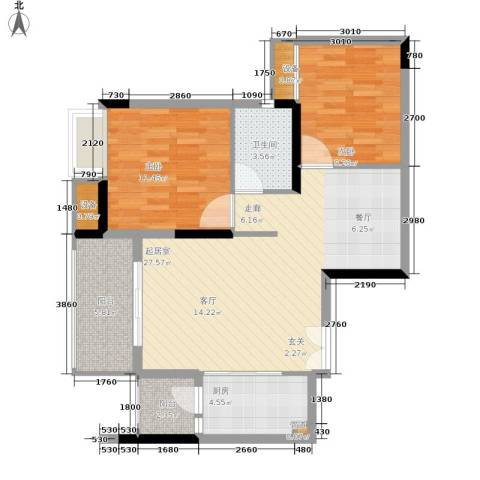 金科云湖天都2室0厅1卫1厨83.00㎡户型图