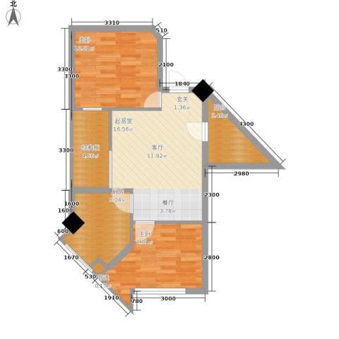 西铁领寓2室0厅0卫1厨52.00㎡户型图