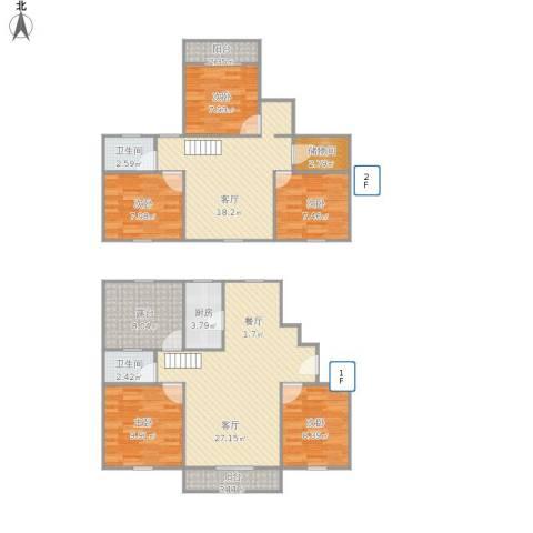 阳光绿园5室2厅2卫1厨153.00㎡户型图
