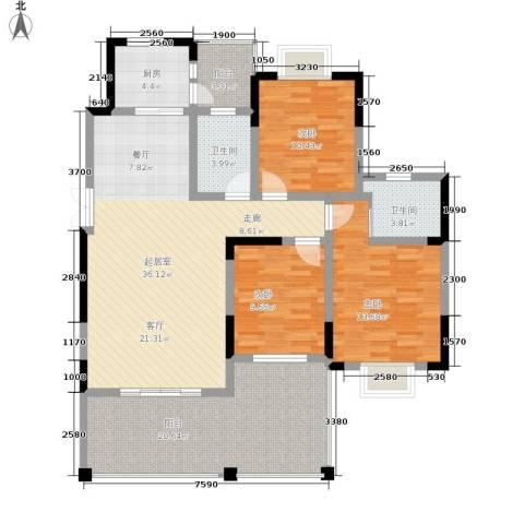 黔源蓝湖星宇3室0厅2卫1厨126.00㎡户型图