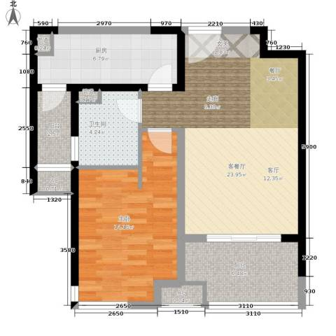金地格林世界森林公馆1室1厅1卫1厨70.00㎡户型图