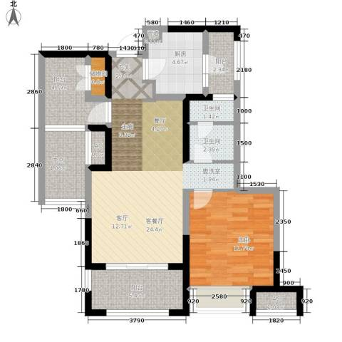 金地格林世界森林公馆1室1厅2卫1厨77.00㎡户型图
