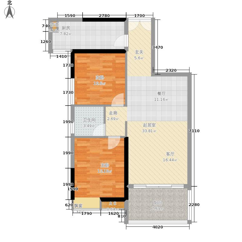 荔港南湾87.58㎡H4栋7-14层02单元户型2室2厅