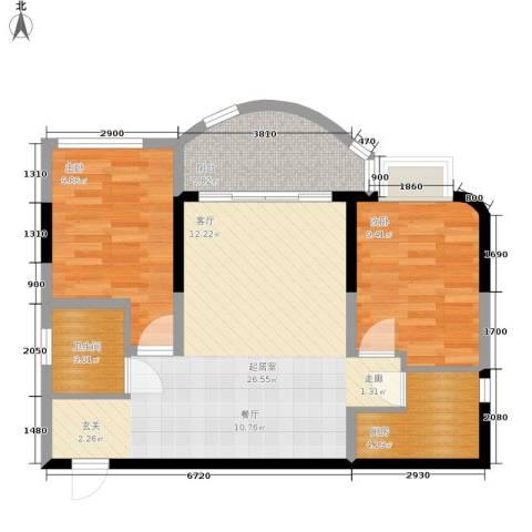 聚丰锦绣盛世2室0厅1卫1厨68.00㎡户型图