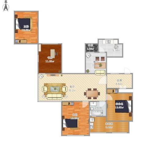 金色城邦3室2厅1卫1厨155.00㎡户型图