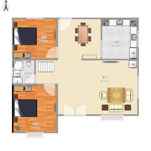 东区自建房2室1厅1卫1厨124.00㎡户型图