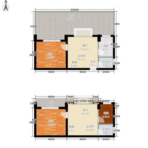 张家围17号花园3室0厅2卫1厨148.00㎡户型图