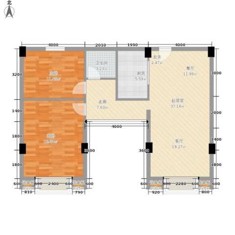 张家围17号花园2室0厅1卫1厨107.00㎡户型图