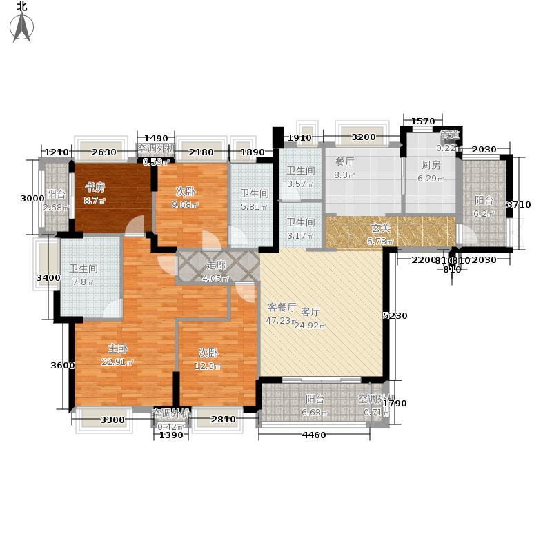 华润橡树湾183.00㎡18#2-19F05单元4室户型