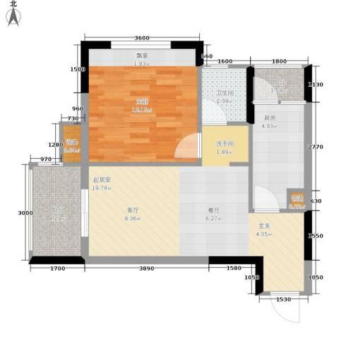 明华龙洲半岛四期老街古镇1室0厅1卫1厨59.00㎡户型图