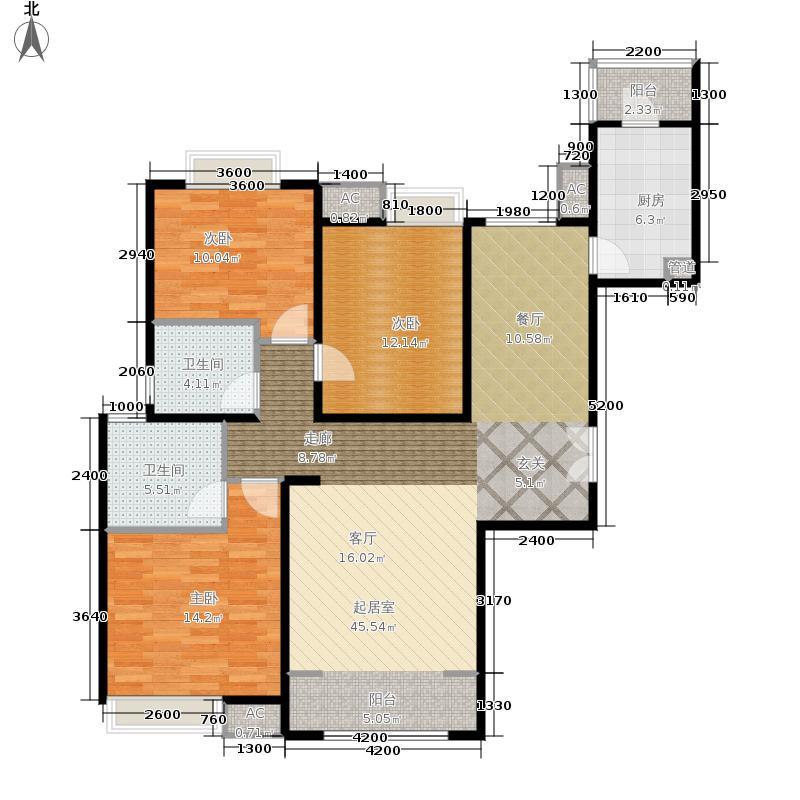 融科橄榄城146.00㎡三居户型