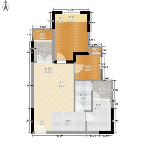 明华龙洲半岛四期老街古镇1室0厅1卫1厨61.00㎡户型图