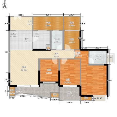 中渝山顶道国宾城3室0厅2卫1厨123.05㎡户型图