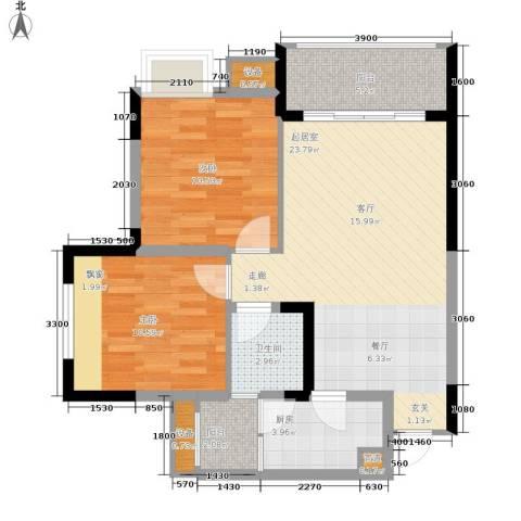 明华龙洲半岛四期老街古镇2室0厅1卫1厨76.00㎡户型图