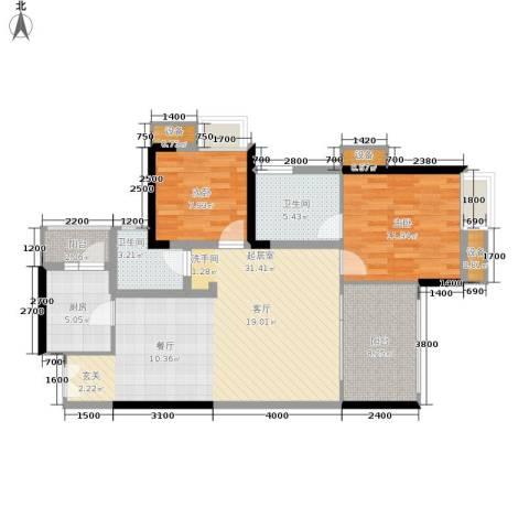 中渝山顶道国宾城2室0厅2卫1厨79.00㎡户型图