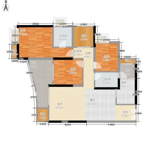 中渝山顶道国宾城3室0厅2卫1厨102.28㎡户型图