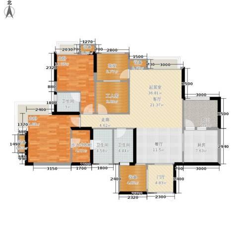 中渝山顶道国宾城2室0厅3卫1厨117.29㎡户型图
