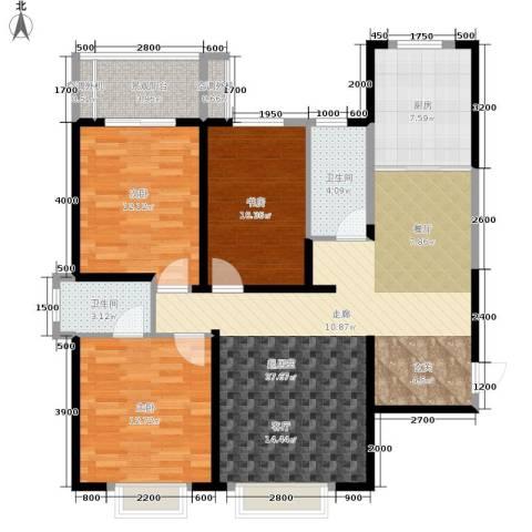 西港碧水湾3室0厅2卫1厨125.00㎡户型图