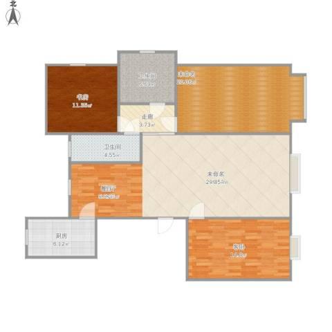 首开熙悦睿府·书香2室1厅2卫1厨142.00㎡户型图