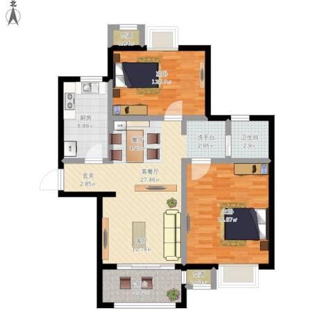 牧龙湖壹号2室1厅1卫1厨107.00㎡户型图