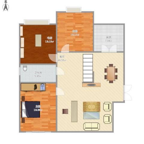 工商局家属院3室1厅1卫1厨135.00㎡户型图