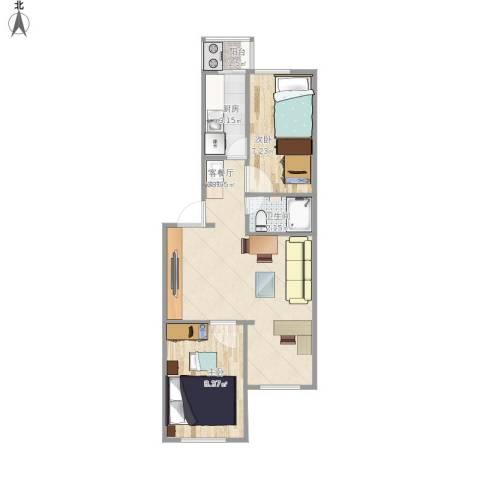 望园西里2室1厅1卫1厨76.00㎡户型图